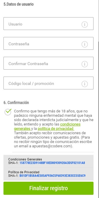 Registrarse en Codere Colombia
